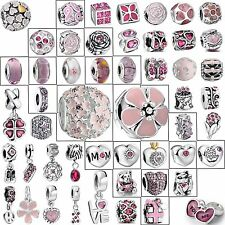 Cute Pink Charm Bead Fashion Jewelry Fit 925 Silver European Bracelets Chain Diy
