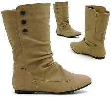LADIES MID CALF FLAT KHAKI FAUX LEATHER BUTTON DETAIL SLOUCH RIDING ANKLE BOOTS