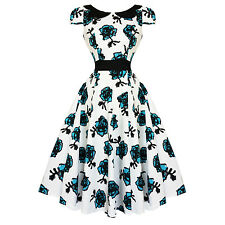Hearts & Roses London White Blue Floral Retro 1950s Flared Party Swing Dress UK