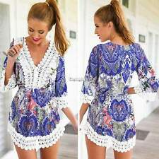 Fashion Women Boho V Neck Lace Floral 3/4 Sleeve Summer Beach Cocktail Dress Top