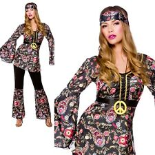 Peace Loving Hippie Outfit Ladies 1960s 70s Hippys Fancy Dress Costume 6/28