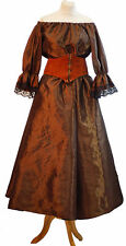 Les Mis-Victorian-Pirate-LADIES BROWN TAFFETA COSTUME LEATHER BELT OR SASH BELT