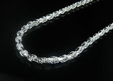 """.925 Sterling Silver Solid Rope Chain Necklace 3.0 MM 16"""" - 30"""""""