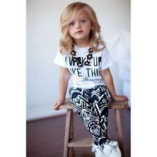 2PCS T-shirt Tops+Long Pants Trousers Toddler Kids Baby Girls Outfit Clothes Set