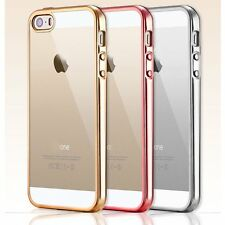 Ultra Thin Chrome Plate Soft Clear Back Case Cover Skin for New iPhone SE 5 5s