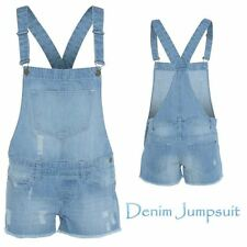 New Womens Ladies Ripped Denim Dungarees Jumpsuit Playsuit Size 8-16