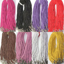 5/50Pcs Leather Braid Rope Hemp Cord Lobster Clasp Chain Necklace Findings 46cm