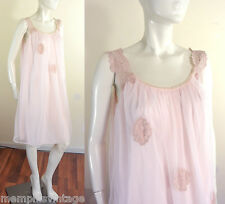 Vtg 60s Night Gown Nightgown Frothy Nightie Sheer Pink Double Chiffon Ecru Lace