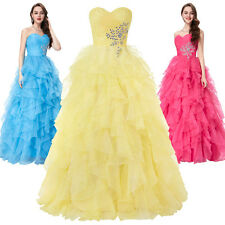 GK Organza Ball Party Gown Prom Evening Dress Bridesmaid Cocktail Long Beads New