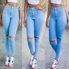 Women Sexy Denim Skinny Slim Pencil Jeans Pants High Waist Hole Stretch Trousers