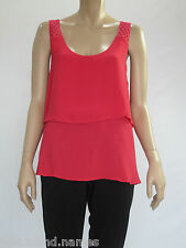 Katies Ladies Sleeveless Lace Strap Top size 12 Colour Raspberry