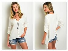 NWT IVORY BUTTON FRONT BLOUSE W/ROLL & TAB SLEEVES (S, M, L)