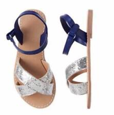 NWT Gymboree Girls Blue Safari Blue & Silver Glitter Sandals Size 12 & 1