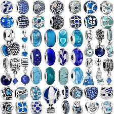 Pop Hot Fashion 925 Silver Sterling Charms Blue Bead For Women Bracelets Bangle