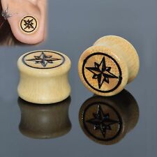Pair Bamboo Wood Ear Gauges-Flesh Tunnels-Ear Plugs-Eyelets Maple Leaf Style New