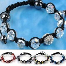 Crystal Disco Ball Hip Hop Glass Hematite Spacer Beads Macrame Bracelet Bangle