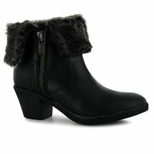 Firetrap Womens Ladies Shine Heeled Ankle Boots Zip Up Fastening Faux Fur Trim
