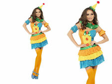 Circus Clown Costume Ladies Colourful Clowns Fancy Dress Outfit Size 8 - 18