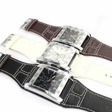 New Fashion Mens Watches Square Dial Leather Band Quartz Analog Wrist Watch