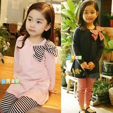 Baby Girls Kids 2pcs Set Bowtie Crew Neck T-shirt Top Tee Striped Trousers Pants
