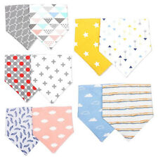 2pcs/set Baby Girl Cotton Bandana Bibs Dribble Triangle Head Scarf Saliva Towel