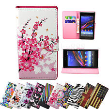 Stand Flip Wallet PU Leather Skin Cover Case For Sony Xperia M2 E1 Z2 Z1 Compact