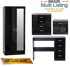 MIRRORED BLACK HIGH GLOSS BEDROOM FURNITURE SET - WARDROBE CHEST DESK BEDSIDE