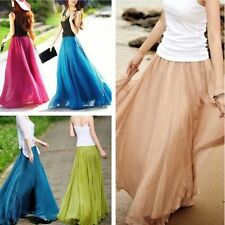 Vintage Womens Ladies Chiffon Dress Dress Long Maxi Boho Skirt Casual Dress