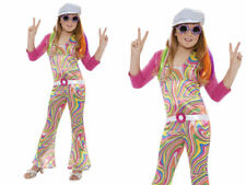 Girls Groovy Glam Hippie Costume Hippy 60s Flower Fancy Dress Outfit