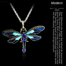 Fashion Boho Bronze Dragonfly Crystal Enamel Pandent Sweater Chain Long Necklace