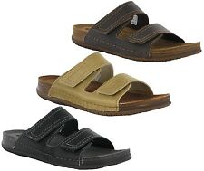 Mens Inblu Leather Twin Velcro Lined Soft Cushion Slip On Summer Holiday Sandals