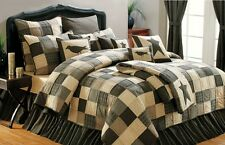 KETTLE GROVE 4pc Full Queen QUILT SET : PRIMITIVE AMERICANA BLACK STAR COMFORTER