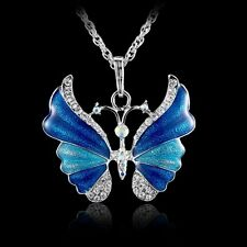 Retro Butterfly Crystal Rhinestone Pendant Necklace Long Chain Women Hot Jewelry