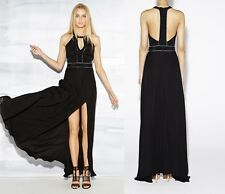 Nicole Miller Chain Embellished Gown T-Back Front Slit Sz 8 & 10 NWT $440