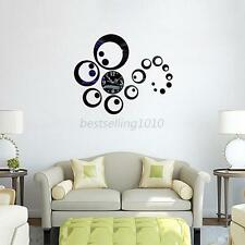 New Modern 3D DIY Mirror Circle Sticker Home Living Room Decor Mirror Wall Clock