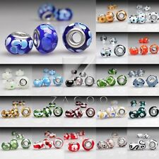 5pcs Murano Glass Lampwork Large Hole European Charms Beads DIY 14x10mm