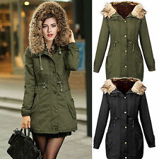 Lady Women's Warm Winter Overcoat Long Jacket Coat Outwear Hooded Parka Cotton