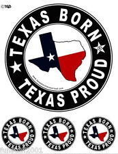 """Texas Born Texas Proud"" Bumper Sticker with free Decals"
