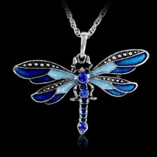 Classic Dragonfly Charms Necklace Pendant Long Chain Inlay birthstone Crystal