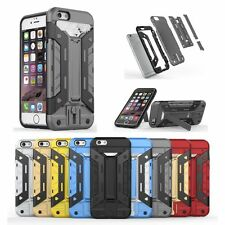 Hybrid Shockproof Heavy Card Holder Stand Armor Case For iPhone 5S 5C SE 6s Plus