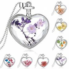 Unique Love Gift Glass Locket Pendant Real Dried Pressed Flower Necklace 24''