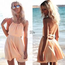 Ladies Chiffon Sundress Party Cocktail Summer Beach Casual Mini Dress Sleeveless
