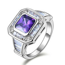 Delicate Jewelry Size 8,9,10,11 Woman Amethyst 18K Gold Filled Anniversary Rings