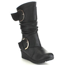 Beston CA55 Children Girl's Strappy Wedge Heel Slouched Costume Knee High Boots