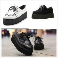 New Women Suede Lace Up Punk Goth High Heels Platform Flat Creeper Flats Shoes