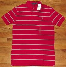 NEW Mens Polo Ralph Lauren Classic Fit Red/Grey Striped Polo Shirt $64 *3A