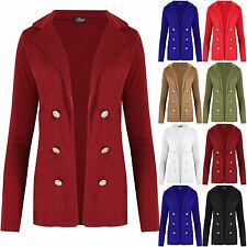 Womens Blazer Ladies Military Button Collared Open Long Sleeve Waistcoat Jacket