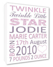 ~ Personalised New Baby Christening Canvas Print Gift Pink Lettering A1/A2/A3