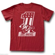 T-Shirts Sizes S-2XL New Authentic Mens Evel Knievel Red One Tee Shirt