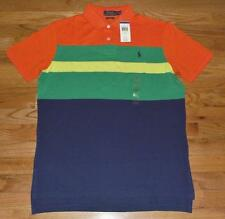 NWT Mens Polo Ralph Lauren Custom Fit Polo Shirt Pony Logo Blue Color Block *3T